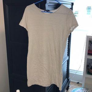 White and tan striped tee shirt dress